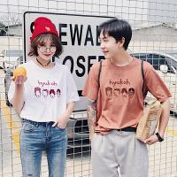 情侣装夏季新款创意人物刺绣体恤韩版学生短袖t恤情侣衫班服