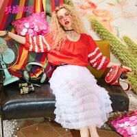 【跨店每满100减50:124】妖精的口袋衬衣女新款蕾丝花苞袖子chic原宿短袖衬衫女