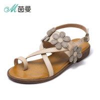 茵曼女鞋新款女夏女士凉鞋复古皮带扣花朵凉拖鞋4872050080