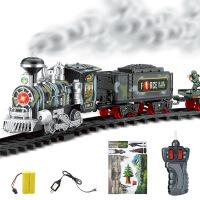 电动仿真模型可充电蒸汽火车儿童玩具套装冒烟遥控轨道火车