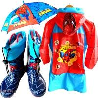 蜘蛛侠儿童雨衣雨鞋套装男童雨具男童雨伞雨鞋雨靴套装小男孩雨披 蓝色 蜘蛛棉雨鞋3件套