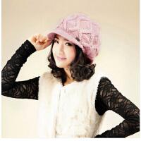 女士新款韩版冬季可爱球球帽子 全羊毛手工双层保暖毛线帽