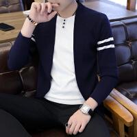 男士薄款韩版潮青年V领秋装外套假两件开衫毛衣男秋季长袖针织衫