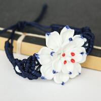 青花瓷手工陶瓷手链项链 中国民族复古风手镯古典女饰品