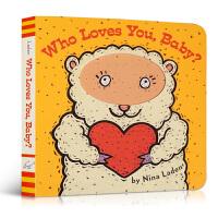 英文原版 Who Loves You, Baby? 宝宝猜猜谁爱你 幼儿英语启蒙阅读 躲猫猫游戏童书 纸板洞洞读物 p
