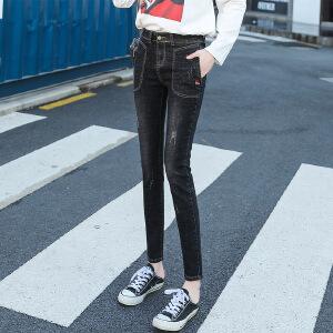 新款女装打底牛仔裤韩版修身显瘦小脚裤子夏季弹力铅笔裤子
