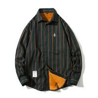 保暖衬衫春秋装长袖男士韩版潮流加绒衬衣纯棉帅气条纹上衣服外套
