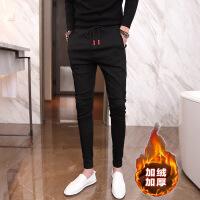 加绒运动裤男士哈伦裤男裤子韩版潮流小脚修身休闲裤男九分裤长裤