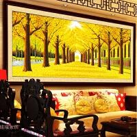 全绣好的十字绣成品黄金满地黄金大道客厅办公室风景装饰画 手工成品 298cm*102cm