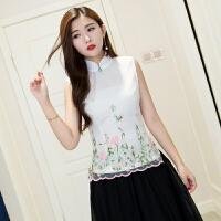 夏装中式文艺女上衣 中国风刺绣欧根纱无袖日常改良短款旗袍