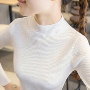 【下单立减120元  仅限今日】半高领毛衣针织衫女长袖短款线衣2018秋冬新款套头百搭修身紧身打底衫