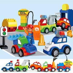 惠美 汽车总动员 宝宝大颗粒兼容乐高拼插积木 男孩女孩益智玩具