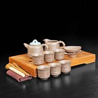 功夫茶具套装6人用茶杯茶壶套装竹制茶盘家用时尚简约办公用陶瓷