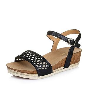 Belle/百丽夏深羊皮革休闲时尚女凉鞋3E3C9BL6