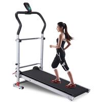 跑步机 家用 迷你 可折叠多功能 静音 迷你走步机 健身器材减肥 家庭加长机械跑步机 黑色新款带减震功能+跑带加长加宽