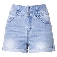 女裤2018夏新款高腰牛仔短裤女显瘦字修身百搭学生卷边