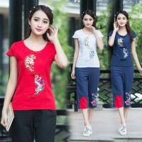 夏季新款 中国风女装刺绣上衣 民族风刺绣衬衫短袖棉麻打底衫