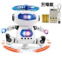 跳舞电动机器人360度智能旋转灯光音乐玩具 炫舞旋转机器人-白色- 【充电版】 官方标配