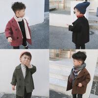 男童2018秋冬新款儿童宝宝加厚呢子大衣外套韩版双面呢中长款风衣