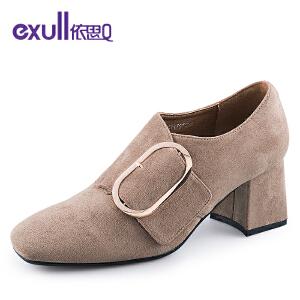 依思q新款时尚方头单鞋绒面魔术贴潮粗跟高跟女鞋