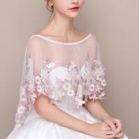新娘披肩春夏秋蕾丝结婚纱蕾丝红色薄款礼服钻遮肉大码一字肩披肩