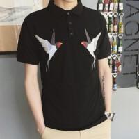 夏季新短袖polo衫男青年韩版修身潮牌系潮流百搭刺绣翻领T恤