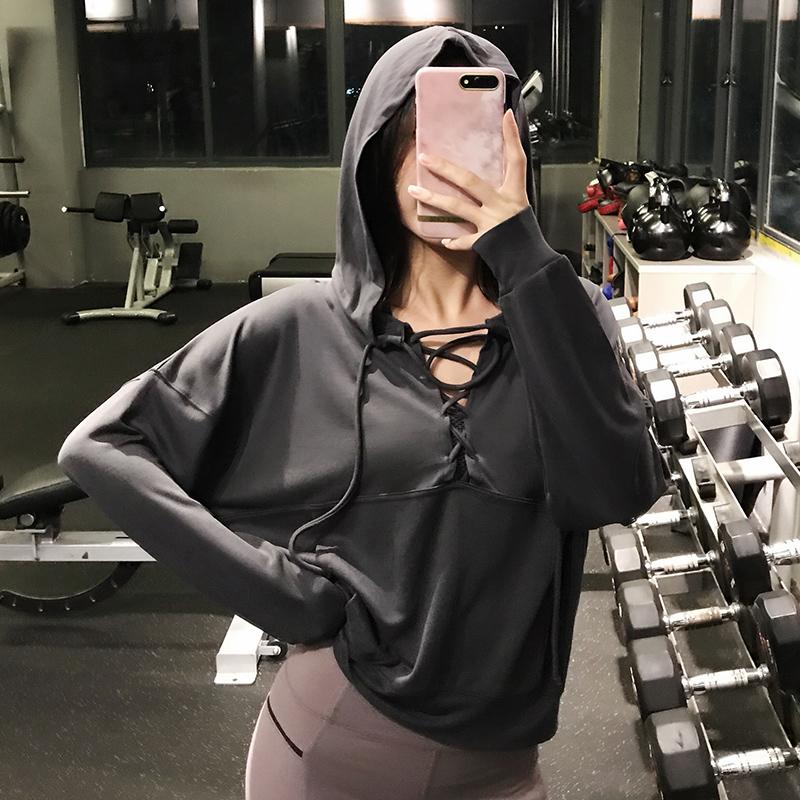 运动上衣女宽松速干长袖瑜伽健身服跑步罩衫秋冬连帽卫衣 灰色 现货