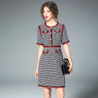 春秋季新款圆领短袖千鸟格短裙OL气质高腰修身一步裙连衣裙女