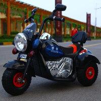 创意新款童车儿童电动摩托车三轮车可坐人男女孩可充电小孩遥控车小宝宝玩具车 黑色・双电机大电瓶・皮座+遥控 充气轮