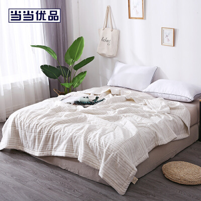 当当优品棉花双人夏被 全棉双层纱新疆棉花空调被200x230cm 夏叶(驼)
