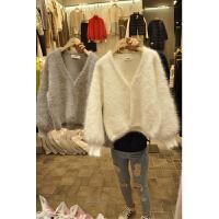 韩版女装2018新款V领毛衣女针织衫开衫秋冬宽松女士色外套短款