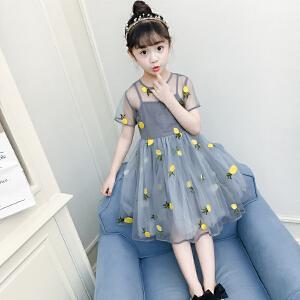 乌龟先生 儿童裙 女童夏季新款圆领可爱蓬蓬裙水果风小清新欧根纱韩版公主风中大童裙子