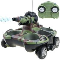 新款水陆两栖四驱遥控坦克车儿童电动车玩具可发射坦克船可充电变形儿童玩具车 射水坦克