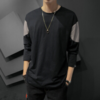 Lee Cooper 圆领舒适休闲拼接撞色个性暖系男式T恤长袖 LCRLNT01
