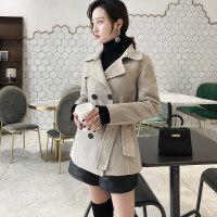 羊毛大衣女短款秋冬韩版修身双排扣双面羊绒毛呢外套