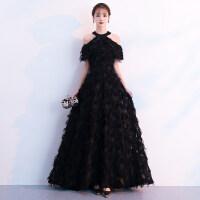 晚礼服女黑色长款气质优雅宴会聚会生日派对连衣裙秋冬季