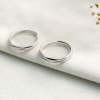 纯银情侣戒指S925男女一对学生日韩活口个性菱形切面闺蜜对戒指环