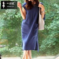 蓝色夏季新款无袖棉麻裙子中长款系带大码宽松口袋休闲亚麻连衣裙