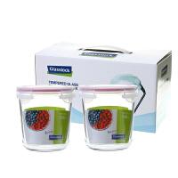 Glasslock 三光云彩玻璃饭盒可微波保鲜盒GL43保鲜碗便当盒收纳盒礼盒套装两件套