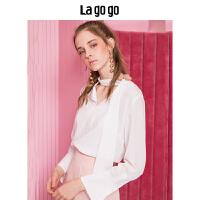 【5折价155.5】Lagogo/拉谷谷2018年秋季新款时尚V领系带长袖雪纺衫HCSS437M11