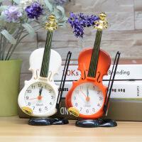 小提琴摆件闹钟创意学生个性现代简约床头卧室复古怀旧欧式