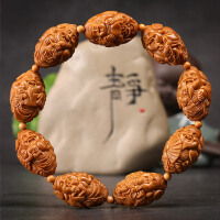 橄榄核手串 八方来财橄榄核雕刻 童子财神橄榄胡手链文玩