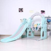 儿童家用滑滑梯秋千组合玩具宝宝室内摇篮爬爬梯幼儿园小孩游乐场 皇冠城堡三合一 绿色