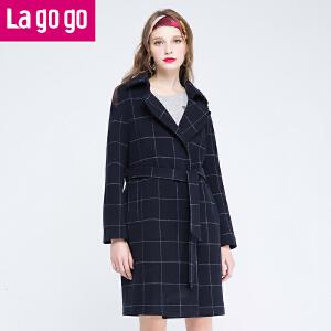 【两件4.5折后价135】lagogo拉谷谷2016冬季新款女装冬装中长款毛呢大衣外套
