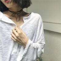 2018夏季新款防晒衫罩衫韩版宽松慵懒长袖T恤女学生百搭学生上衣