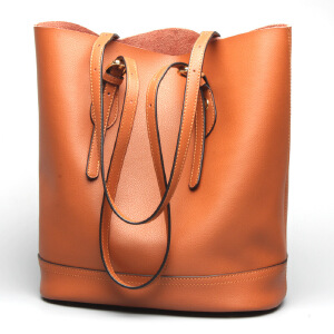【春夏新品惠】2018新款真皮女包时尚牛皮水桶包女士单肩休闲包包手提包