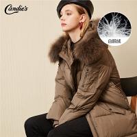 拉夏贝尔面包羽绒服女中长款2020冬季新款韩版宽松大衣毛领派克服鹅绒外套