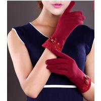 保暖加厚棉手套 女冬新款女士蕾丝加绒触摸屏手套韩版