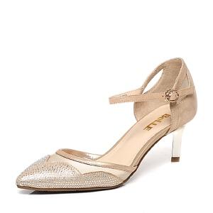 Belle/百丽专柜同款优雅拼接钻饰细跟女凉鞋BGAB5AK6