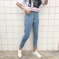 宽松牛仔裤女bf风 高腰不规则毛边九分裤春季韩版学生ulzzang直筒